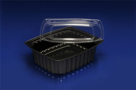 DLC-016B <br></br> 16 OUNCE BLACK DELI CONTAINER AND CLEAR LID<br></br>C8 Tiers x 4 cases per tier = 32 cases per pallet