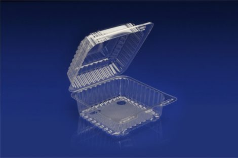 "CHC-737<br></br>7"" SQUARE CLEAR HINGED CONTAINER<br></br>5 Tiers x 6 cases per tier = 30 cases per pallet"