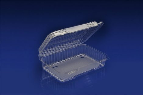 CHC-932<br></br>  9″ OBLONG CLEAR HINGED CONTAINER / MEDIUM DEPTH <br></br> 6 Tiers x 4 cases per tier = 24 cases per pallet