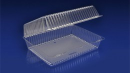 CHC-1295<br></br> LARGE/DEEP UTILITY CLEAR HINGED CONTAINER <br></br> 6 Tiers x 7 cases per tier = 42 cases per pallet