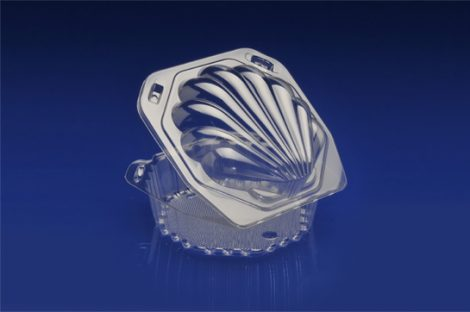 CSS-6X25<br></br> 6″ CLEAR HINGED CONTAINER, SEASHELL DESIGN <br></br> 6 Tiers x 6 cases per tier = 36 cases per pallet