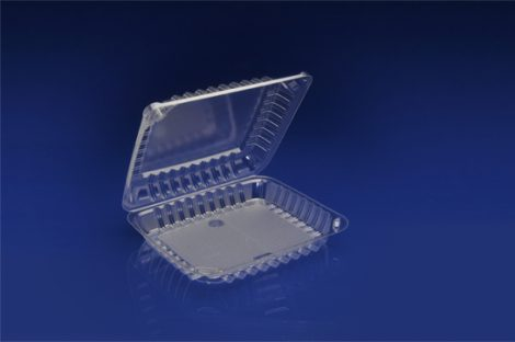 "CHC-8X1<br></br>  8"" CLEAR HINGED CONTAINER, 2 ¼ DEEP<br></br> 5 Tiers x 9 cases per tier = 45 cases per pallet"