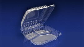 "CHC-9X3D<br></br> 9″ CLEAR HINGED CONTAINER, 3"" DEEP – 3 COMPARTMENT <br></br>5 Tiers x 6 cases per tier = 30 cases per pallet"