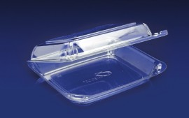 CBC-8X1<br></br>ClearBoost PET 8″ Hinged Container/Shallow