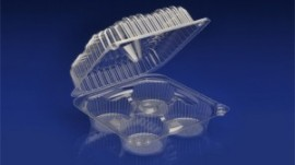CMU-004 <br></br>  4 CELL MUFFIN CLEAR HINGED CONTAINER <br></br> 5 Tiers x 4 cases per tier = 20 cases per pallet