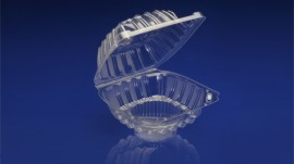 CSC-501<br></br> 5″ SINGLE CUPCAKE CLEAR HINGED CONTAINER.<br></br>4 Tiers x 11 cases per tier = 44 cases per pallet.