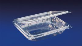 HLD-016sb ClearBoost 16oz. Shallow Base Perimeter Seal Hinged Deli Container PET