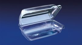 CBC-935 ClearBoost 9″ PET Oblong Hinged Container